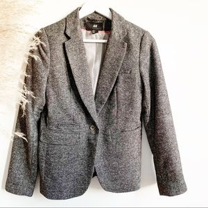 H&M Grey Office Blazer 5% Wool Size 6